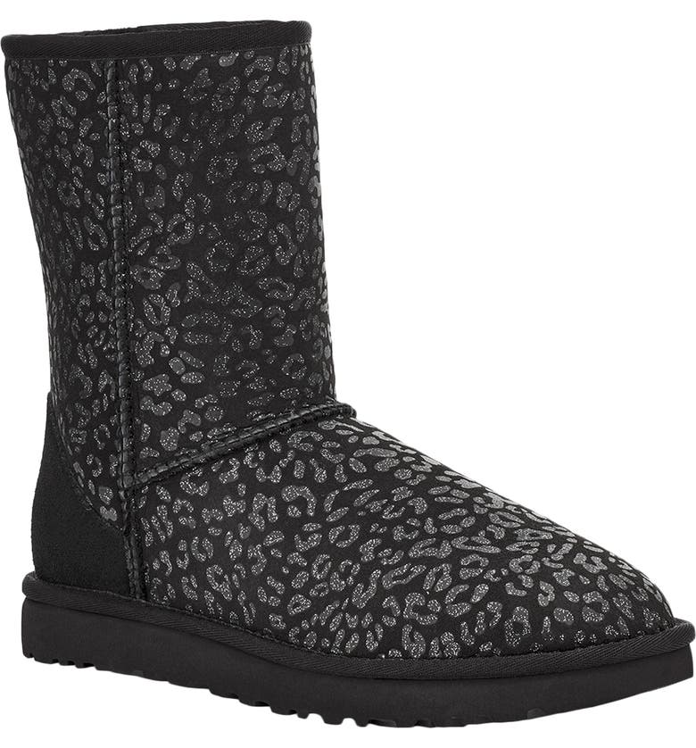 UGG<SUP>®</SUP> Classic II Genuine Shearling Lined Short Boot, Main, color, BLACK SNOW LEOPARD SUEDE