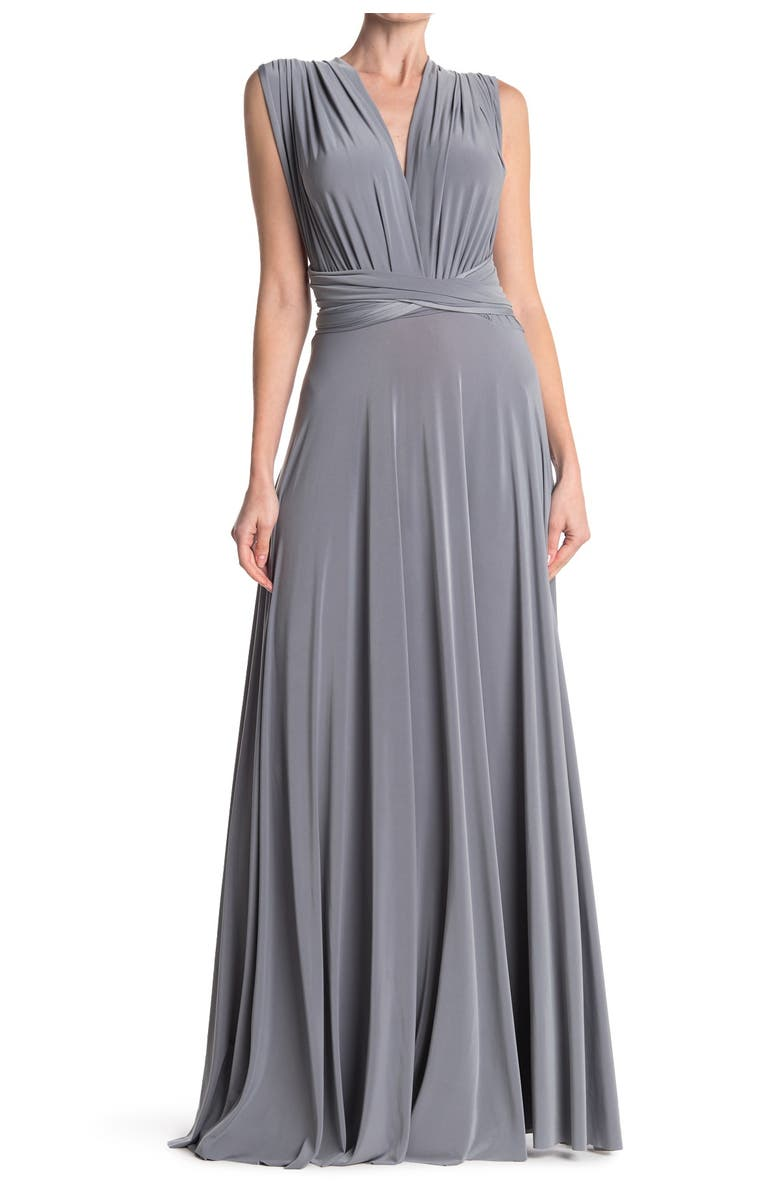 DESSY COLLECTION Convertible Wrap Tie Surplice Jersey Gown, Main, color, 032
