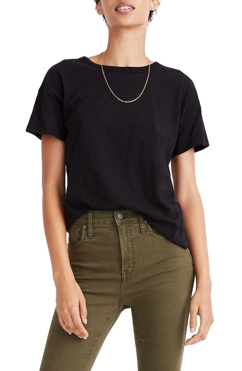 MADEWELL Whisper Cotton Crewneck T-Shirt, Main, color, TRUE BLACK