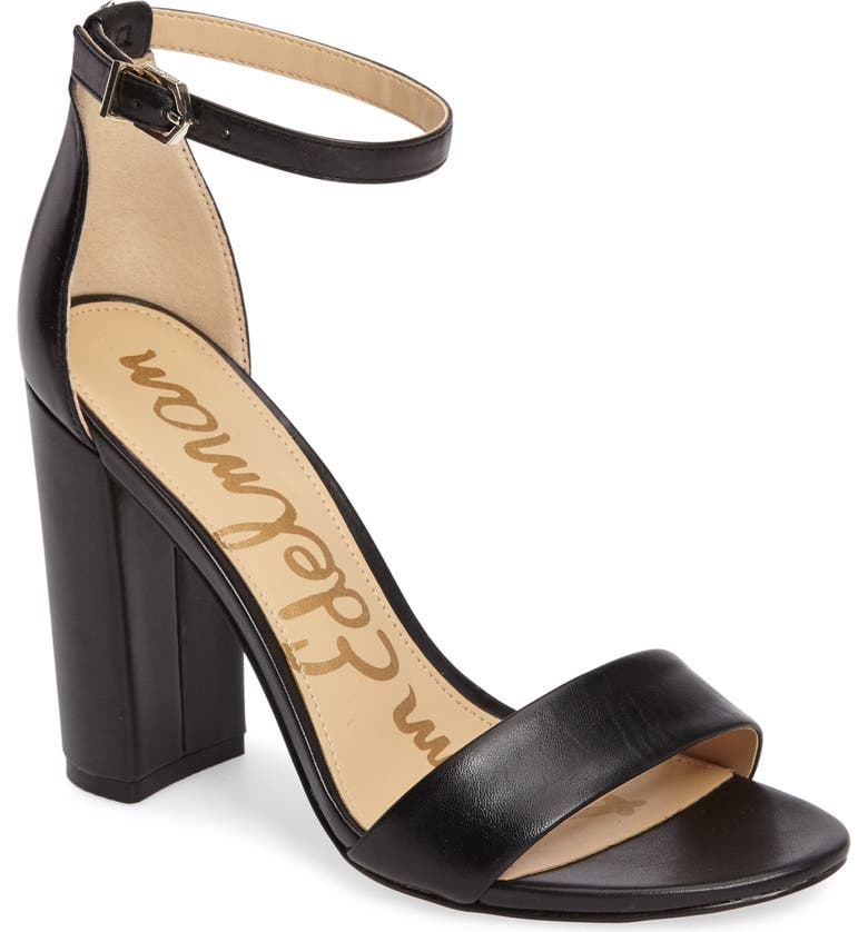 SAM EDELMAN Yaro Ankle Strap Sandal, Main, color, BLACK/ BLACK LEATHER