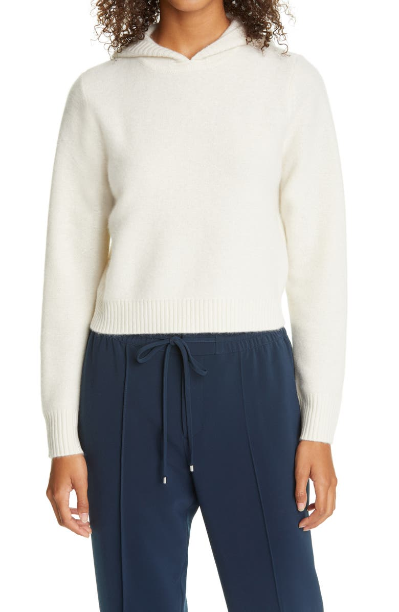 CLUB MONACO Boiled Cashmere Crop Hoodie, Main, color, IVORY