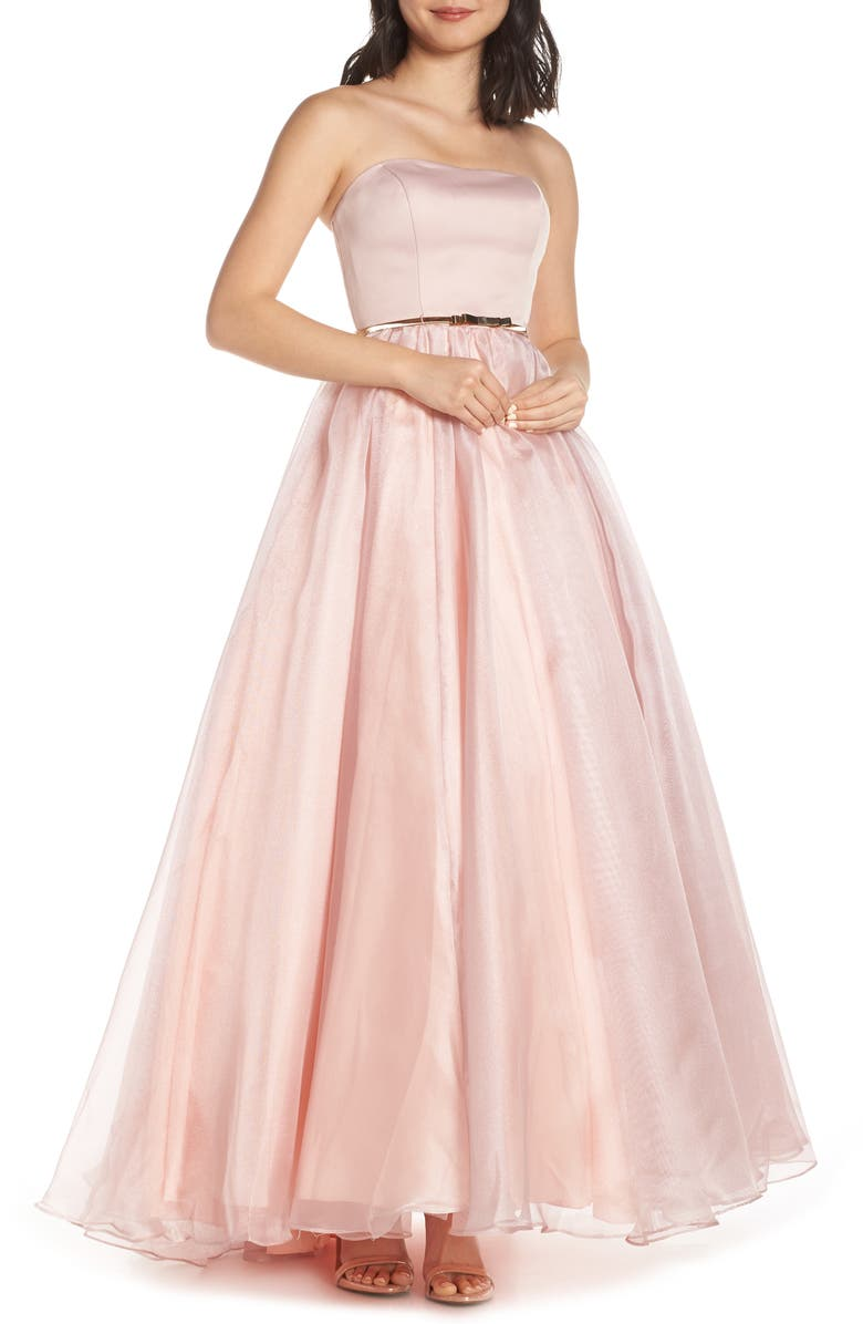 MAC DUGGAL Strapless Belted Ballgown, Main, color, ROSE PINK
