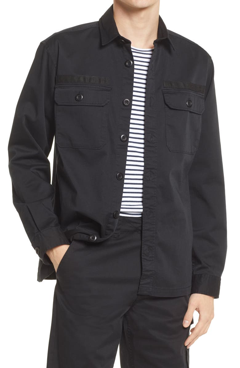 SELECTED HOMME Men's Ricko Loose Fit Overshirt, Main, color, BLACK