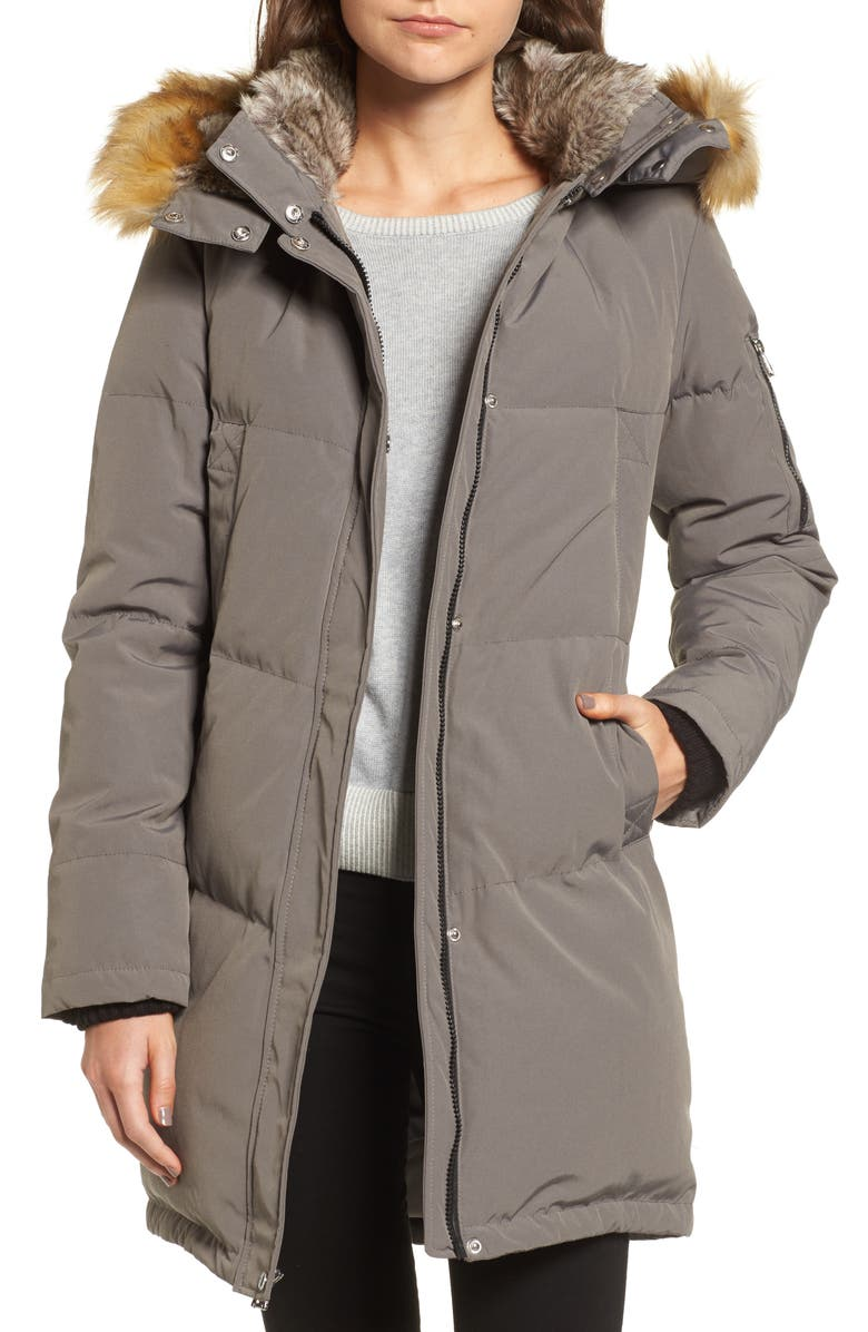 VINCE CAMUTO Down & Feather Fill Parka with Faux Fur Trims, Main, color, 020