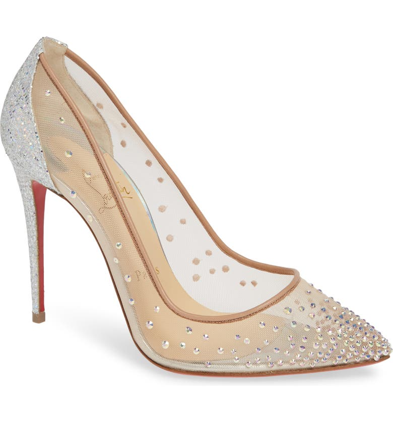 CHRISTIAN LOUBOUTIN Follies Strass Pointed Toe Pump, Main, color, 043