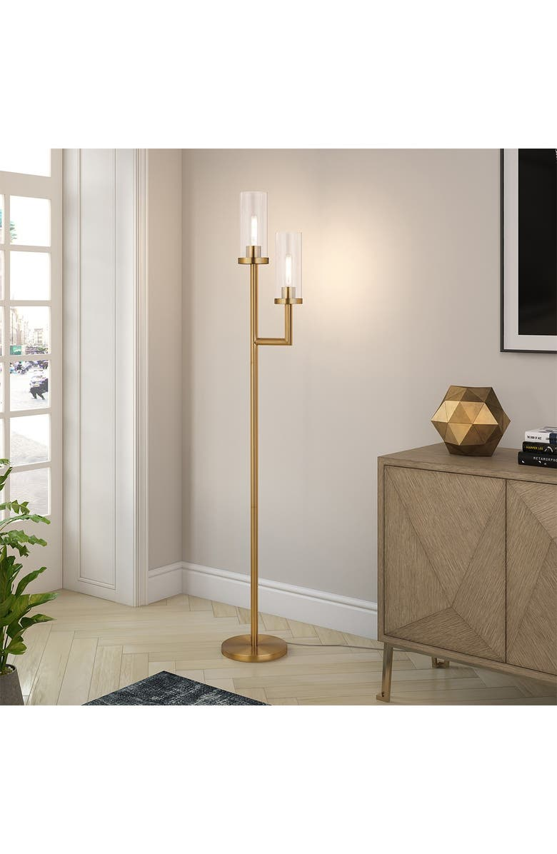 ADDISON AND LANE Basso Brass Finish Floor Lamp Clear Glass Shades, Main, color, GOLD