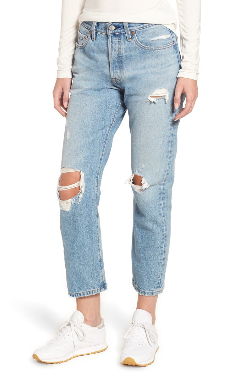 LEVI'S<SUP>®</SUP> 501<sup>®</sup> Ripped High Waist Crop Jeans, Main, color, 420