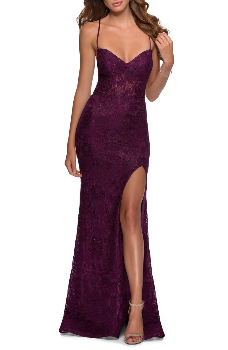 LA FEMME Strappy Back Lace Trumpet Gown, Main, color, DARK BERRY