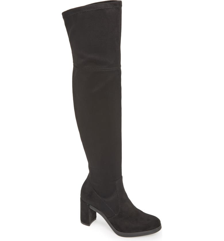 WONDERS Over the Knee Stretch Boot, Main, color, BLACK SUEDE