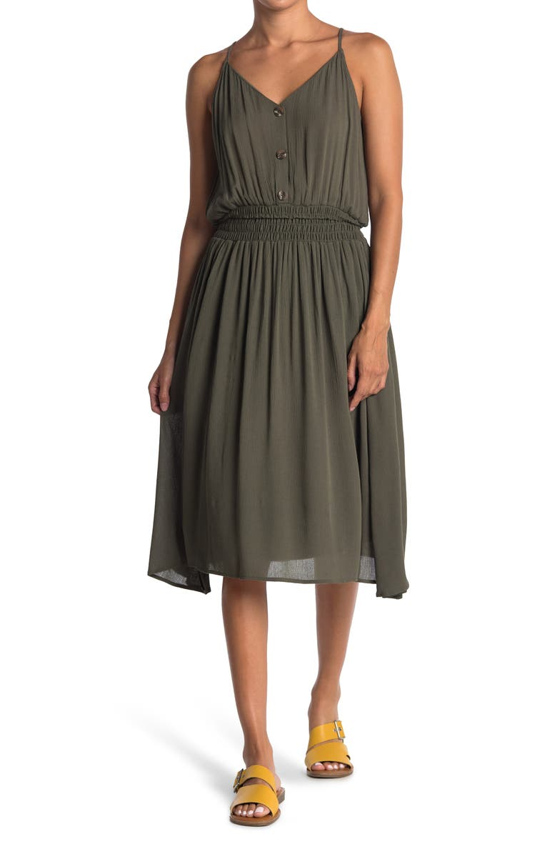 WEST KEI Woven Solid Tank Dress, Main, color, OLIVE