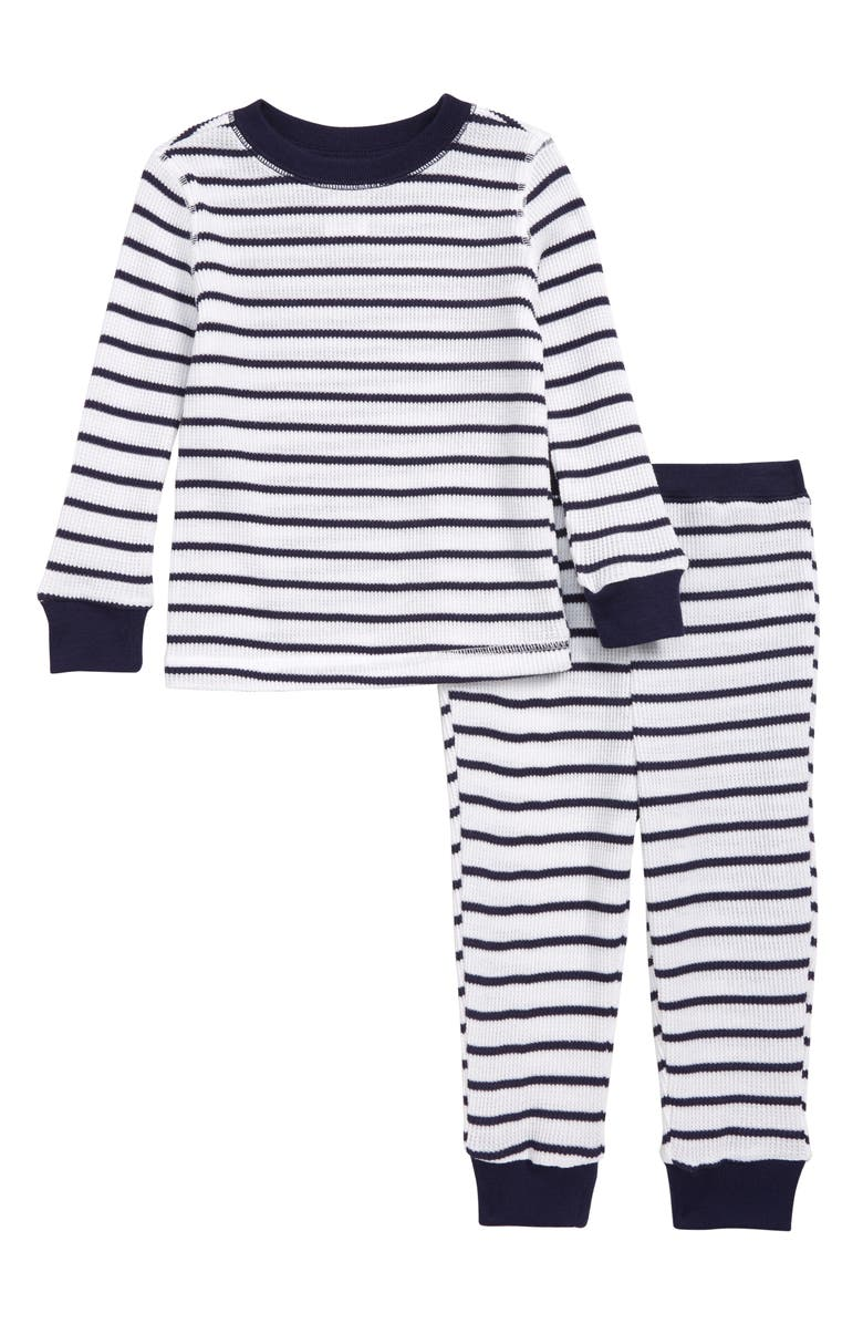 SOMETHING NAVY Fitted Thermal Two-Piece Pajamas, Main, color, NAVY AND WHITE STRIPE