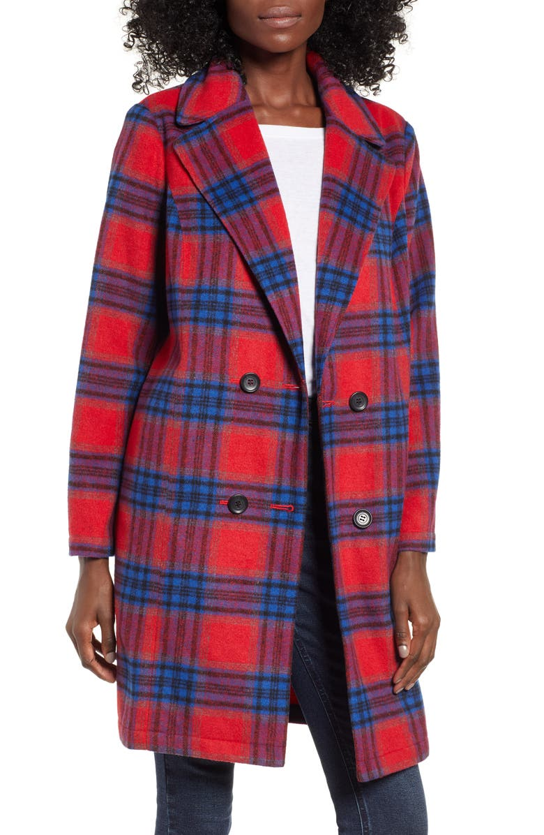 BP. Plaid Double Breasted Coat, Main, color, 610