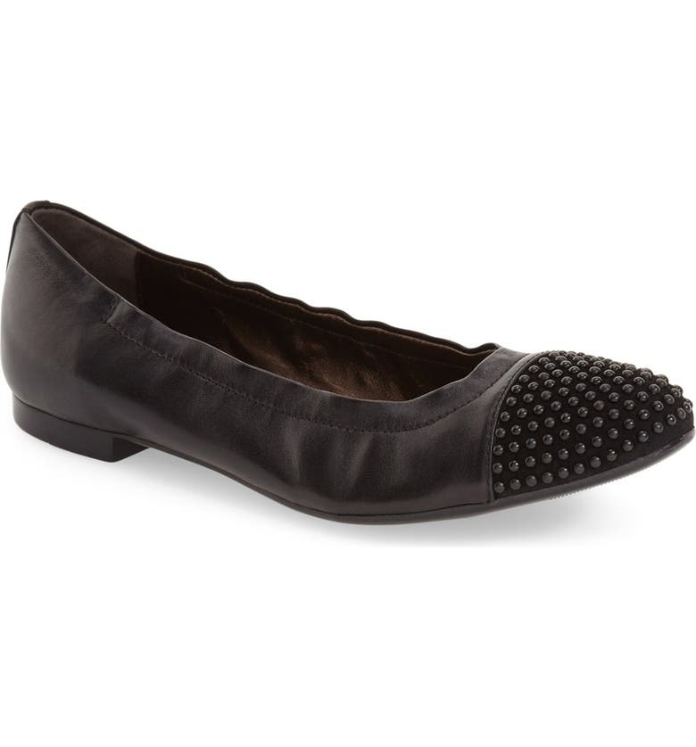 AGL 'Blakely' Studded Cap Toe Ballet Flat, Main, color, 001
