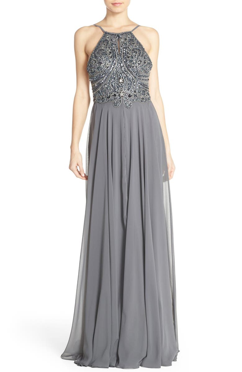 JOVANI Embellished Chiffon Fit & Flare Dress with Shawl, Main, color, CHARCOAL