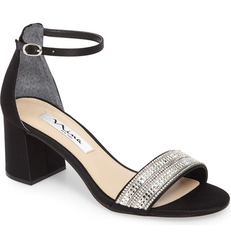 NINA Elenora Sandal, Main, color, BLACK SATIN