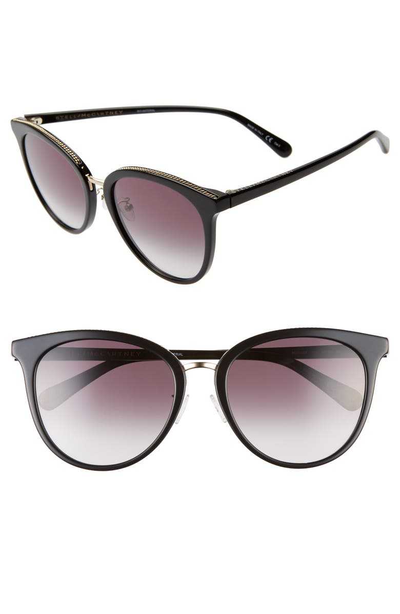 STELLA MCCARTNEY 57mm Round Sunglasses, Main, color, 001