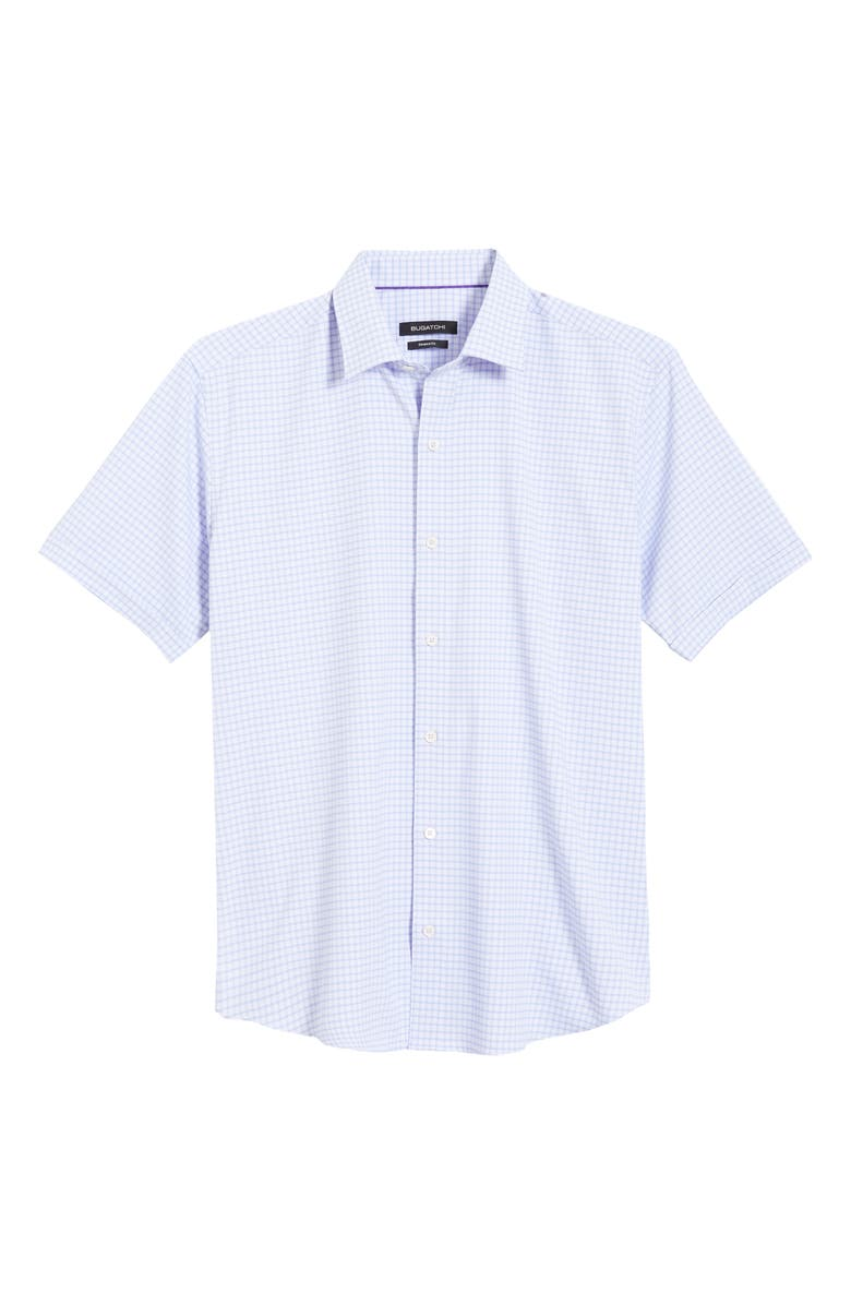 BUGATCHI Shaped Fit Check Short Sleeve Button-Up Performance Shirt, Main, color, LAVENDER