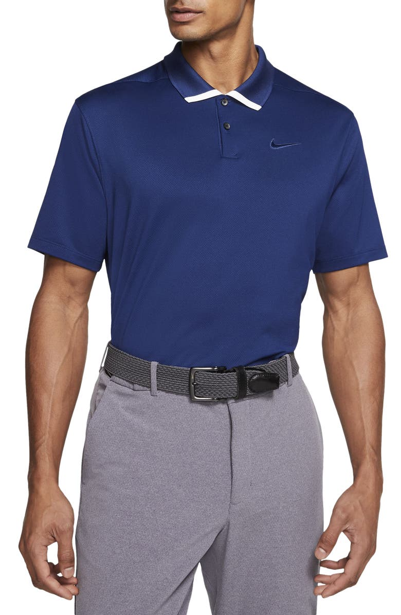 NIKE Vapor Dri-FIT Short Sleeve Golf Polo, Main, color, BLUE VOID/WHITE/BLUE VOID