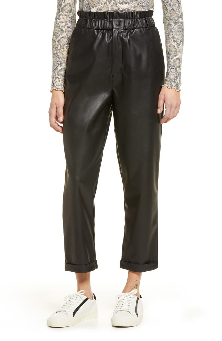 BP. Faux Leather Relaxed Trousers, Main, color, BLACK