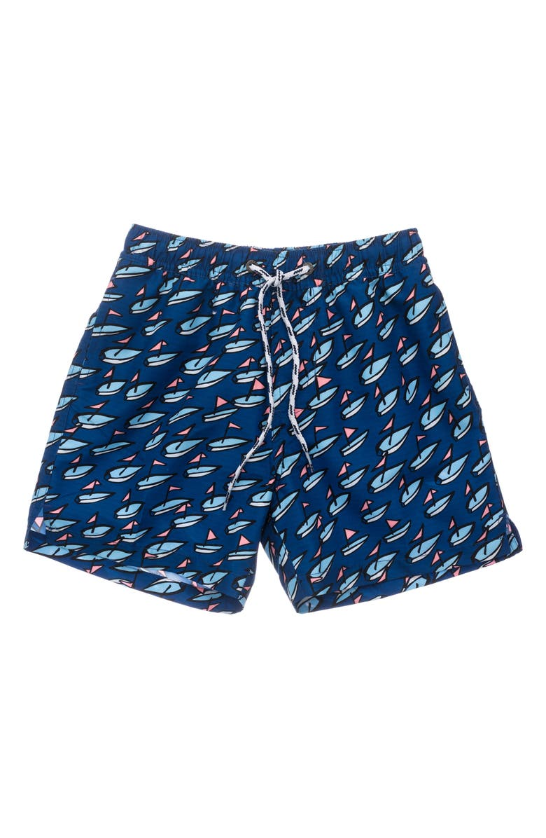SNAPPER ROCK Kids' Opti Boats Volley Swim Trunks, Main, color, NAVY
