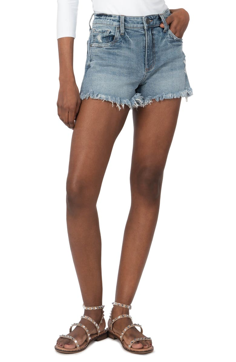 KUT FROM THE KLOTH Jane High Waist Distressed Fray Hem Cutoff Denim Shorts, Main, color, PROACTIVE