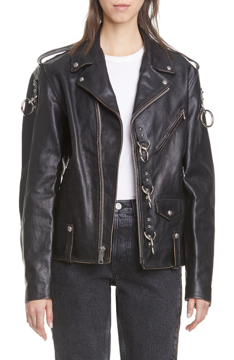 R13 Ring Detail Refurbished Leather Moto Jacket, Main, color, BLACK