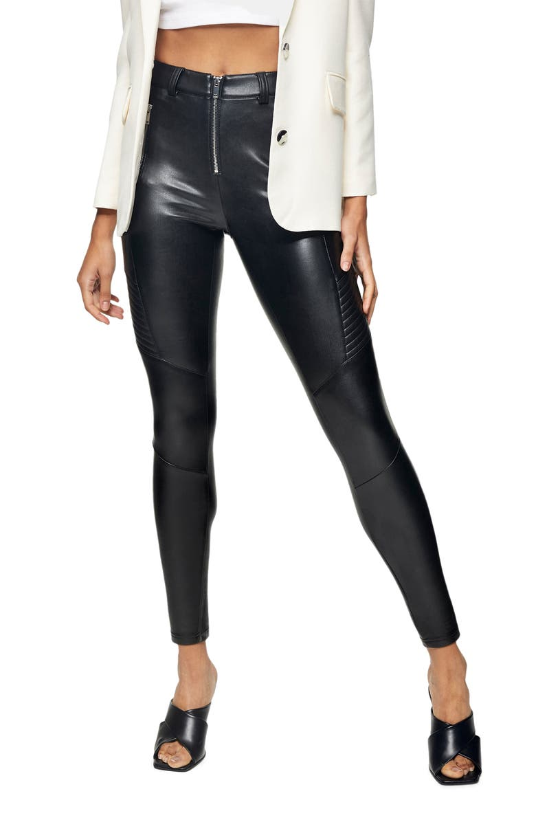 TOPSHOP Fliss Biker Faux Leather Leggings, Main, color, BLACK