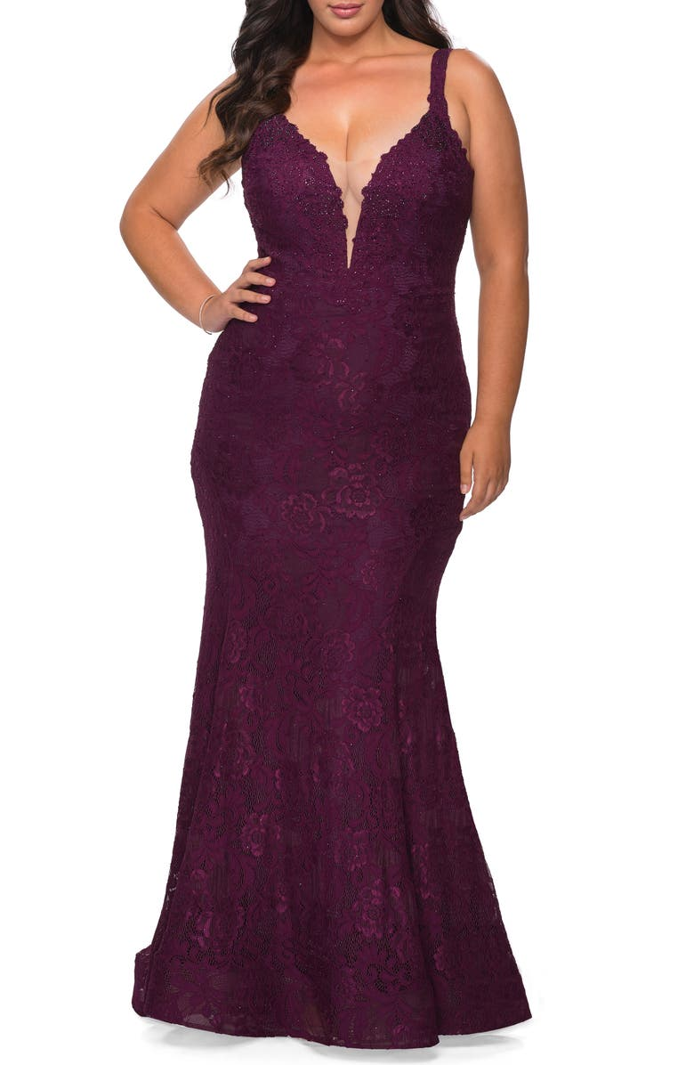 LA FEMME Embellished Lace Trumpet Gown, Main, color, DARK BERRY