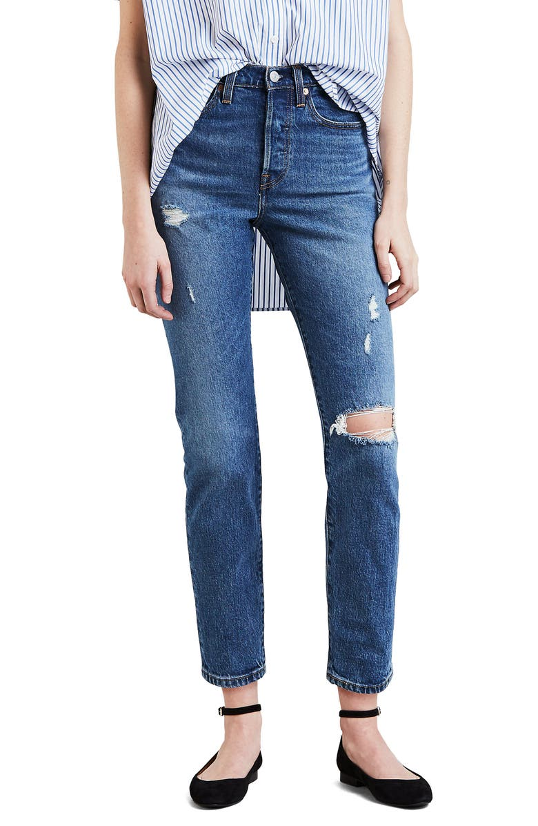 LEVI'S<SUP>®</SUP> Wedgie Icon Fit Ripped High Waist Ankle Jeans, Main, color, HIGHER LOVE