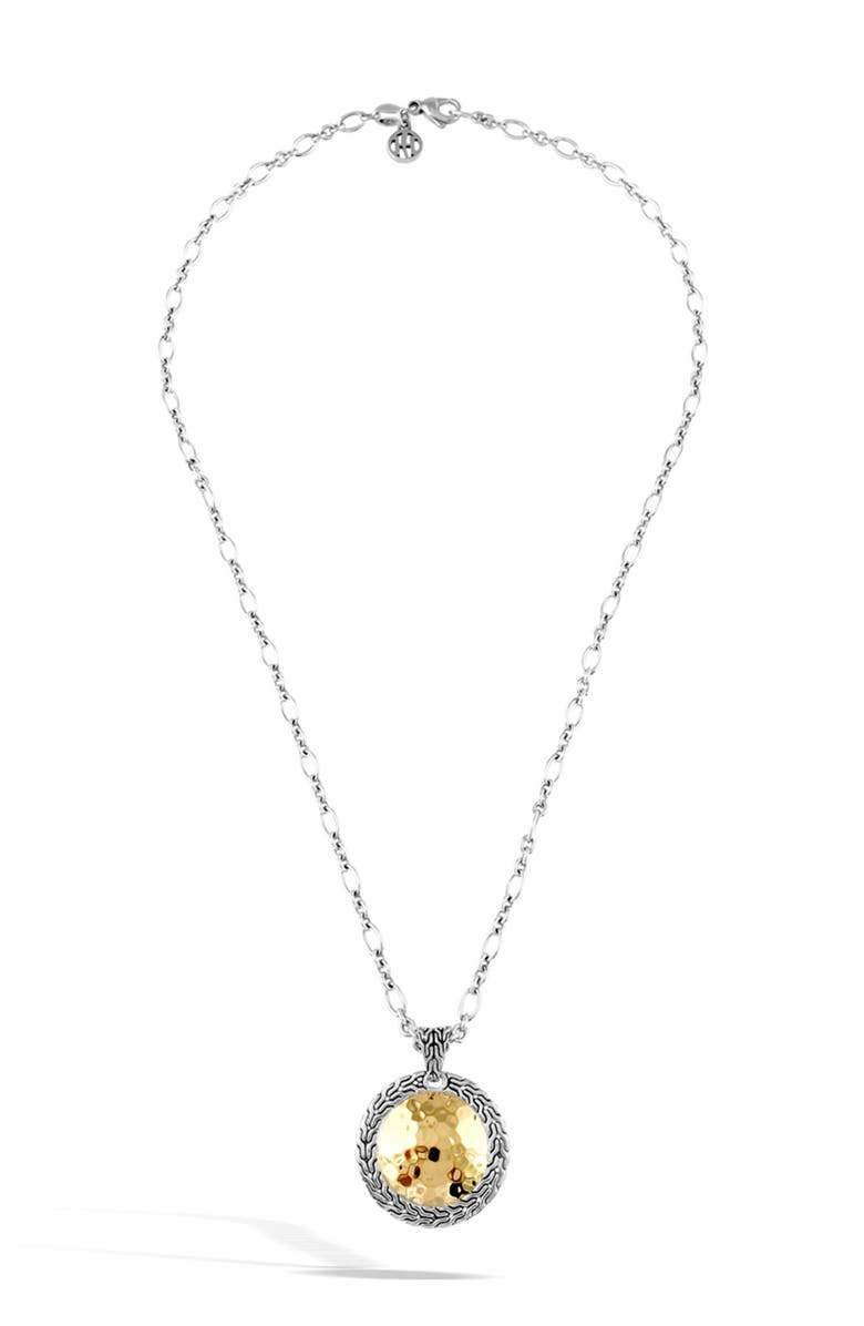 JOHN HARDY Sterling Silver & 22K Gold Hammered Round Pendant Necklace, Main, color, NO COLOR