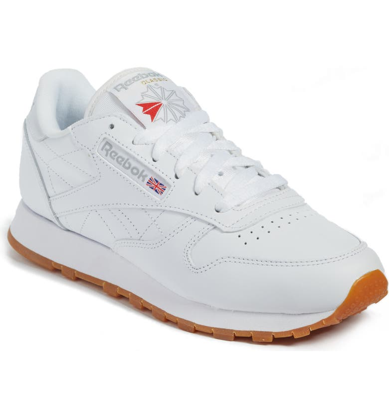 REEBOK Classic Leather Sneaker, Main, color, US-WHITE/ GUM