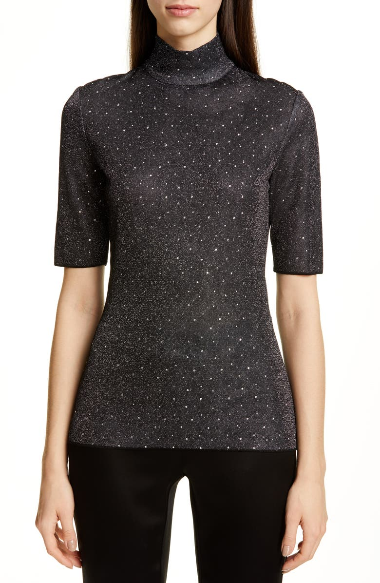 ST. JOHN COLLECTION Diamond Sparkle Knit Sweater, Main, color, 001