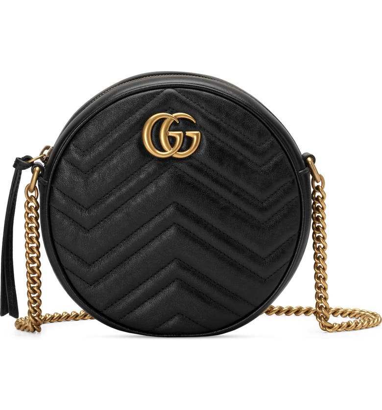 GUCCI Mini GG Matelassé Round Leather Shoulder Bag, Main, color, NERO