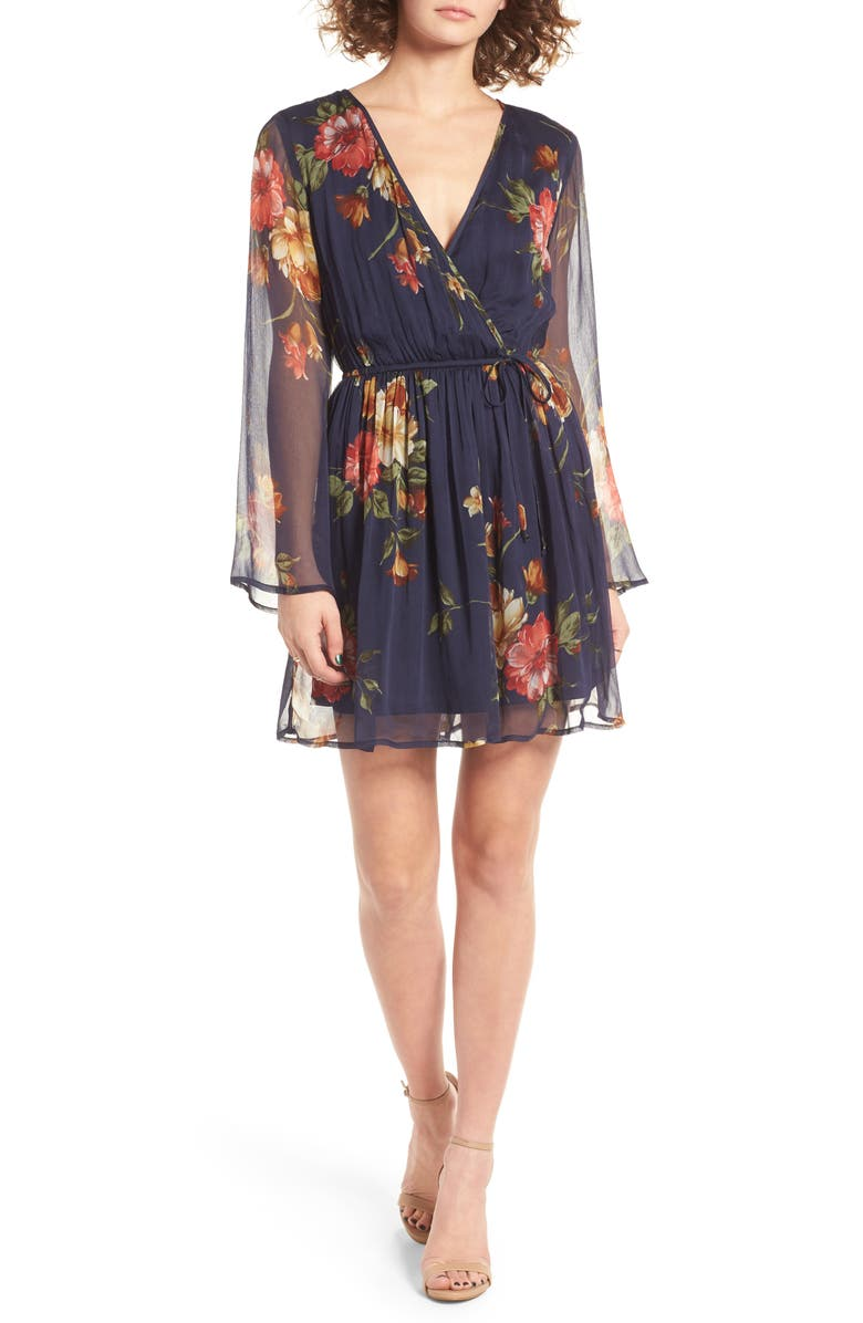 BAND OF GYPSIES Floral Print Surplice Dress, Main, color, NAVY GOLD