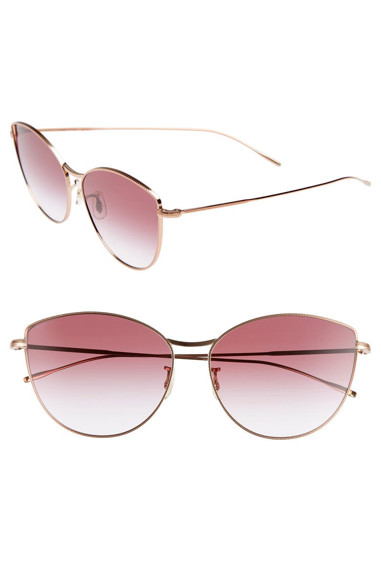 OLIVER PEOPLES Rayette 60mm Cat Eye Sunglasses, Main, color, SOFT ROSE GOLD