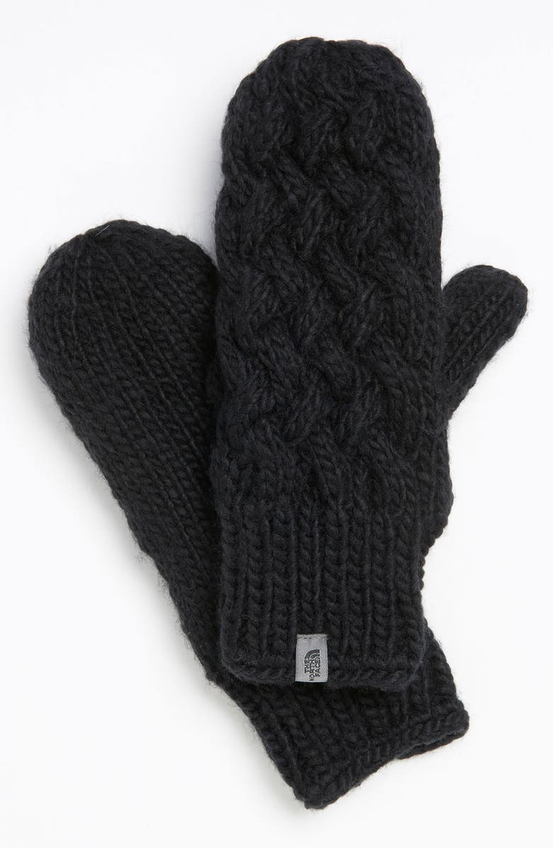 THE NORTH FACE Cable Knit Mittens, Main, color, 010