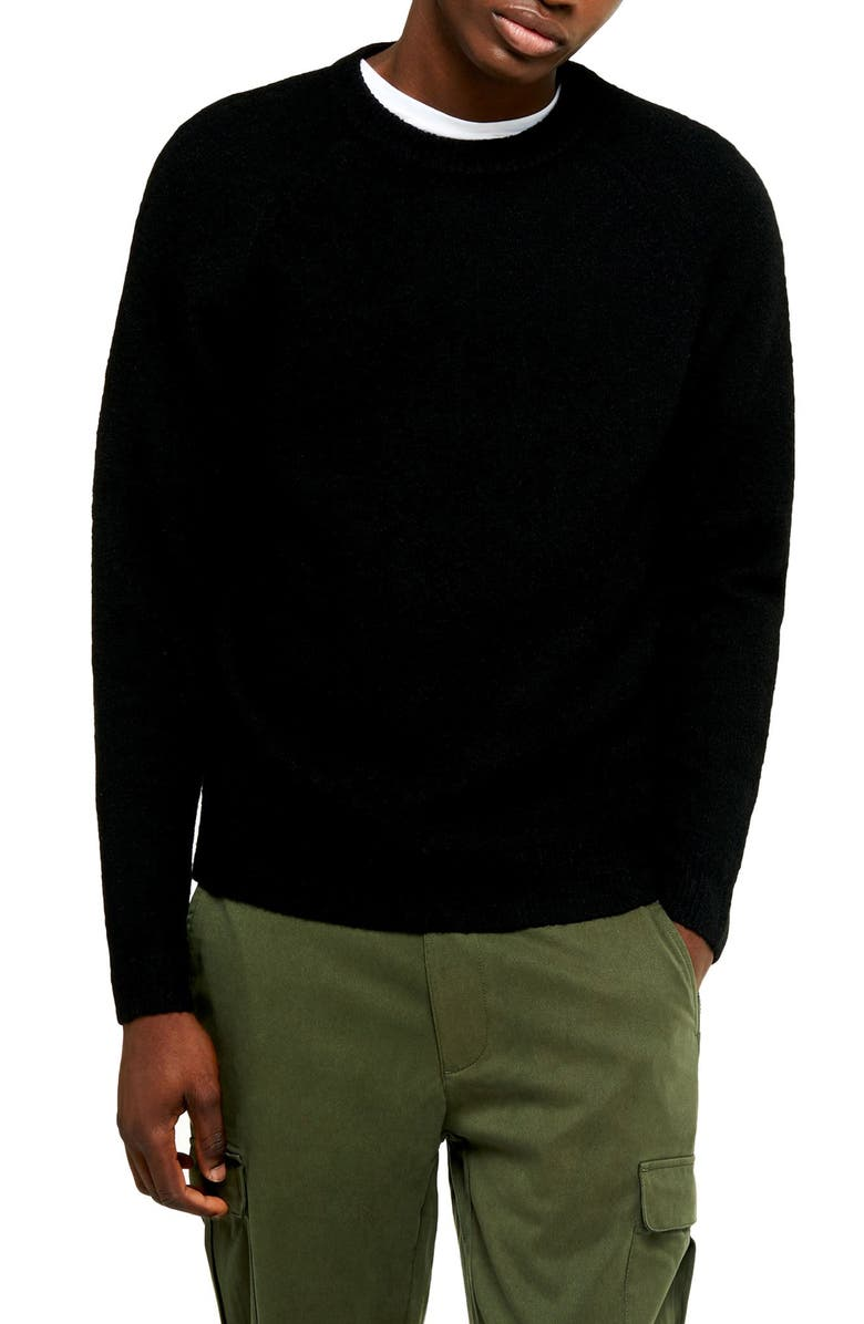 TOPMAN Harlow Classic Fit Solid Crewneck Sweater, Main, color, 001