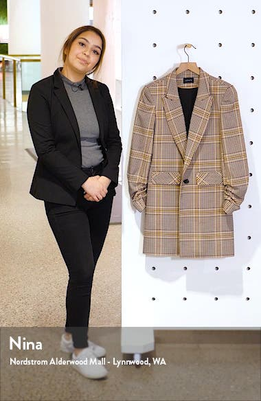 Ruched Sleeve Plaid Blazer, sales video thumbnail