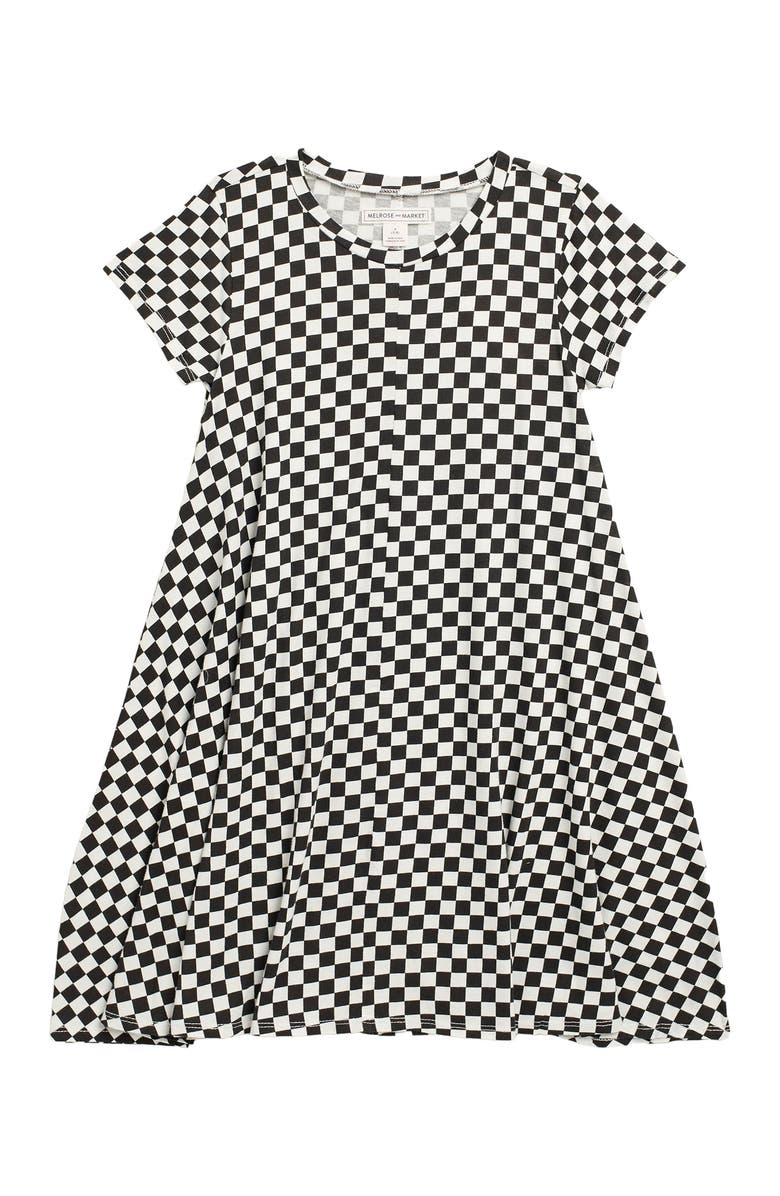 MELROSE AND MARKET Short Sleeve Knit Dress, Main, color, BLACK- IVORY CHECKERBOARD