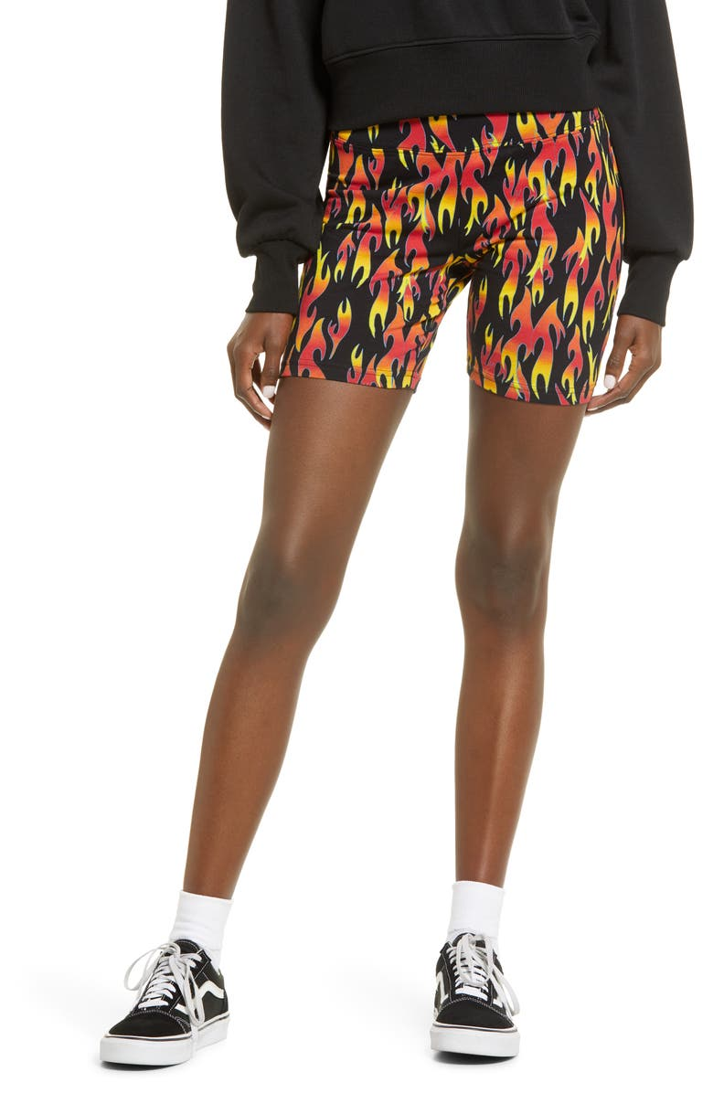 BP. Be Proud by BP. Gender Inclusive Bike Shorts, Main, color, BLACK FLAMING ALL OVER