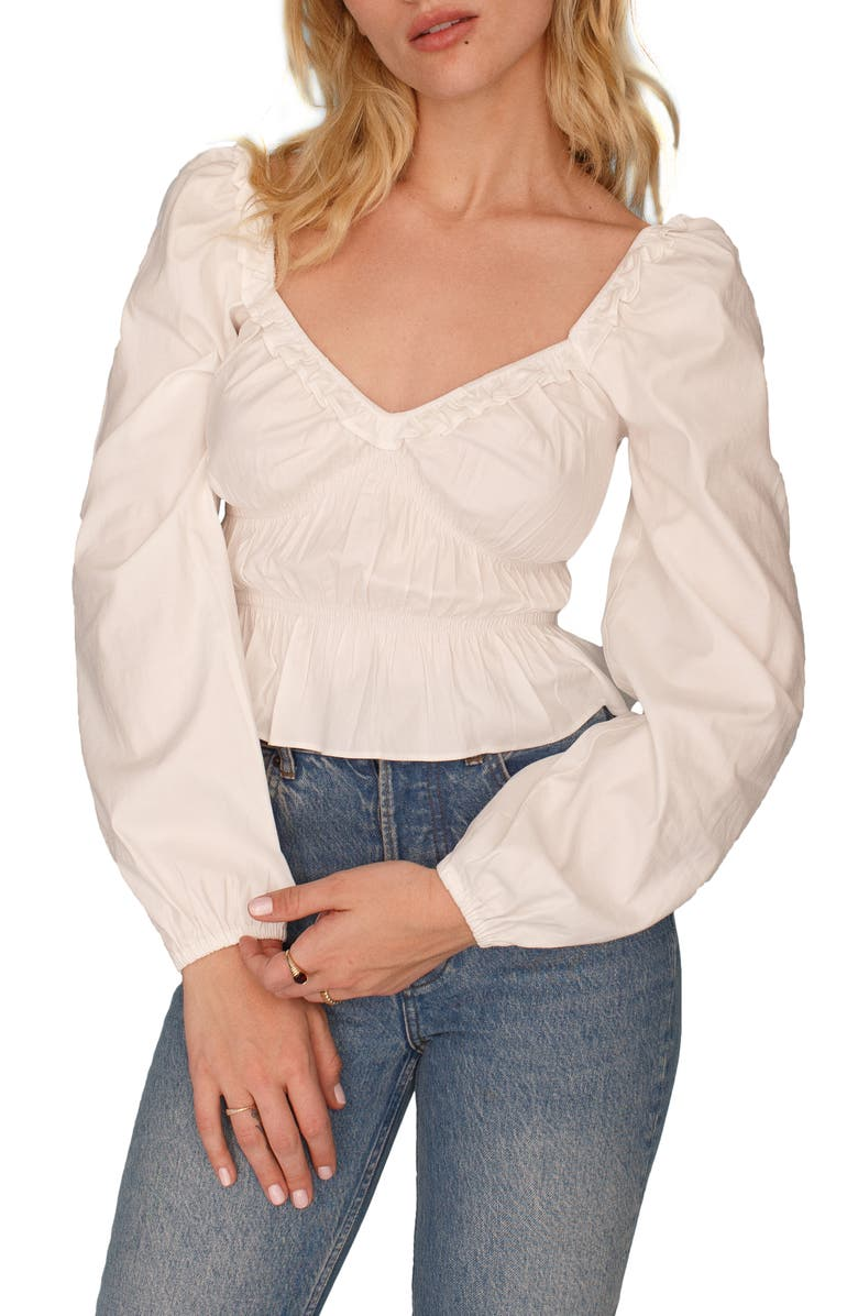 REFORMATION Fern Ruffle Blouse, Main, color, WHITE