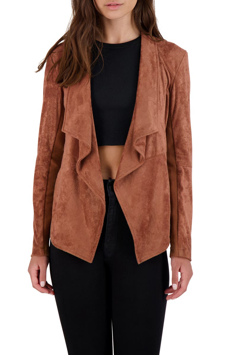 BB DAKOTA Wade Drape Front Faux Suede Jacket, Main, color, TERRACOTTA