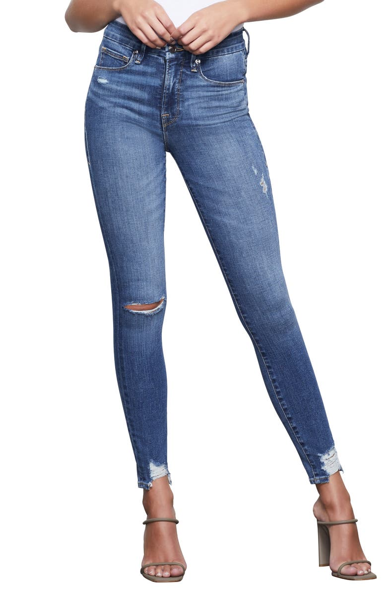 GOOD AMERICAN Good Waist High Waist Chewed Hem Skinny Jeans, Main, color, 401
