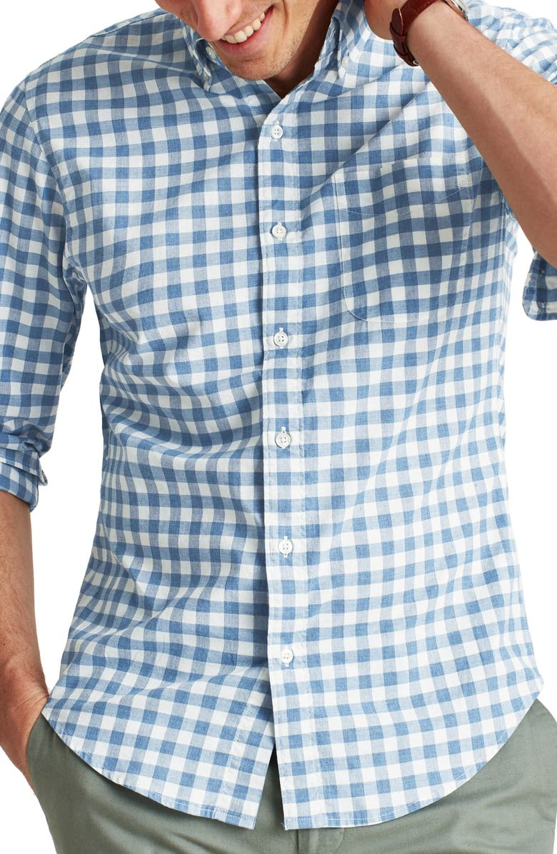 BONOBOS Slim Fit Check Washed Stretch Cotton Button-Down Shirt, Main, color, BEDFORD CHECK - HTHR DENIM