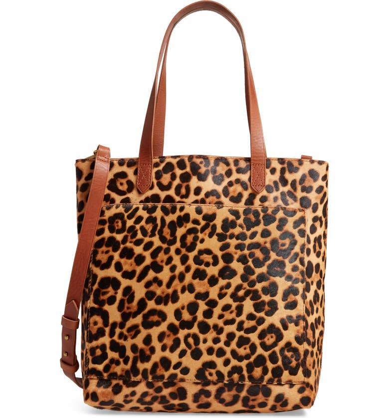 MADEWELL Leopard Genuine Calf Hair Medium Transport Tote, Main, color, 200