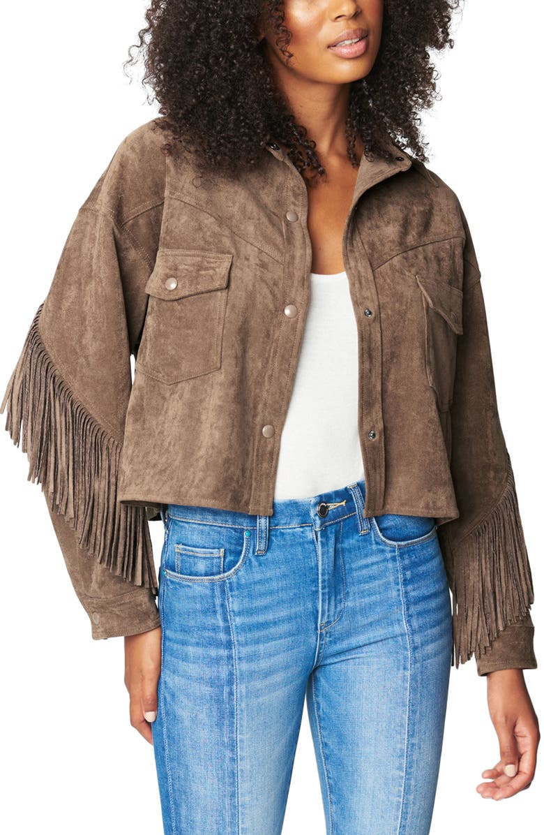 BLANKNYC Faux Suede Fringe Jacket, Main, color, HOT COCOA