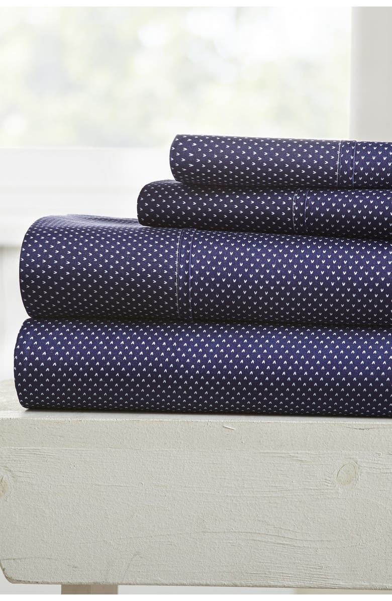 IENJOY HOME Our Elegant My Heart Pattern 4-Piece Sheet Set - Pink - Queen, Main, color, NAVY