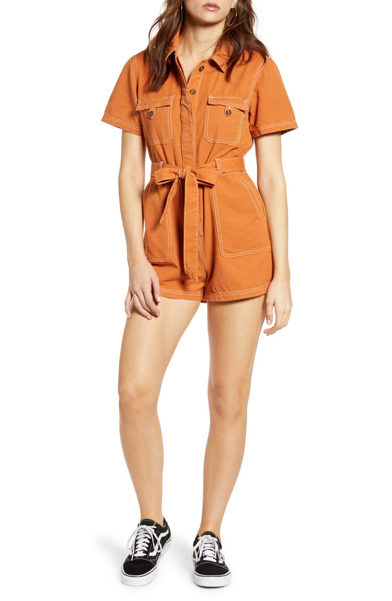 BDG URBAN OUTFITTERS Stevie Belted Cotton Romper, Main, color, 800