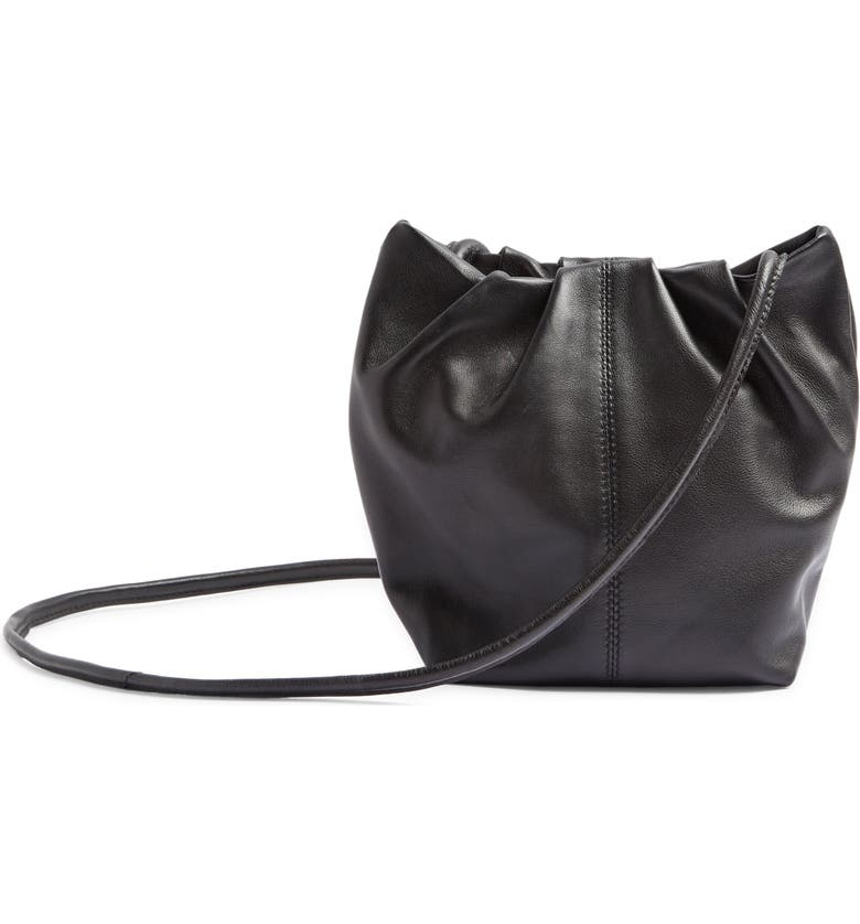 TOPSHOP Small Leather Bucket Bag, Main, color, BLACK