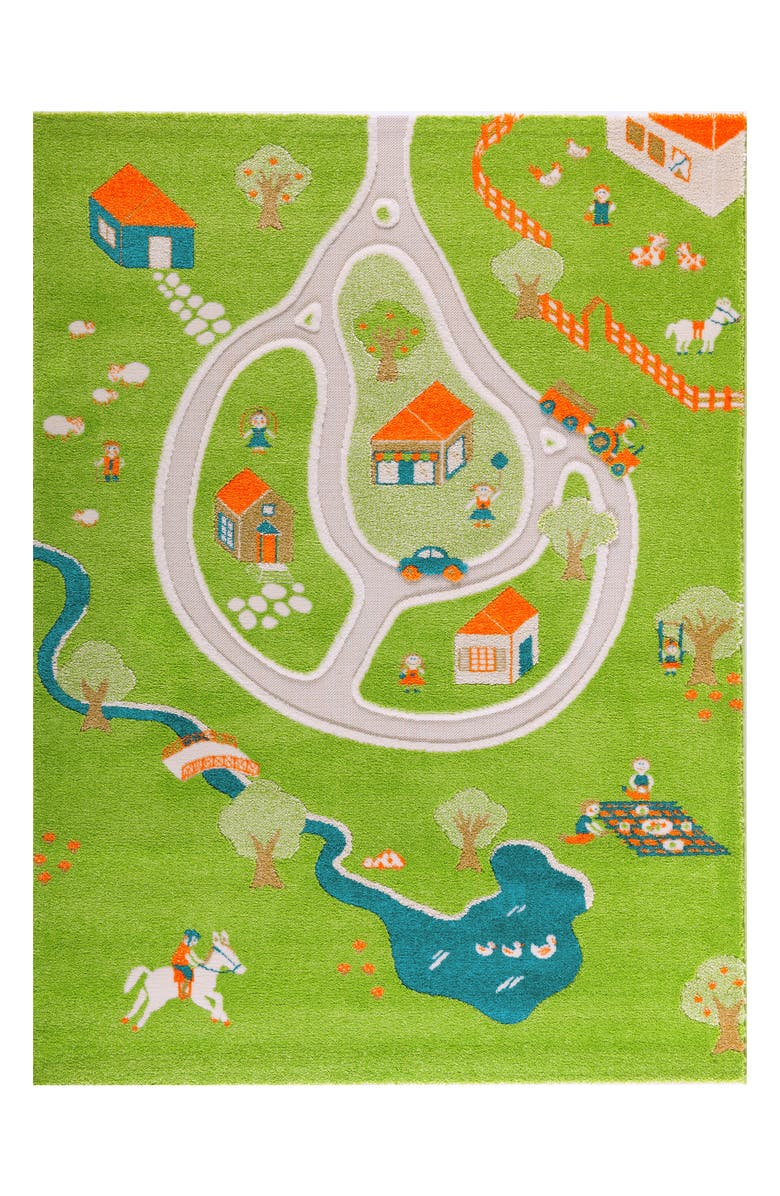 LUCA AND CO IVI Farm Play Rug, Main, color, GREEN
